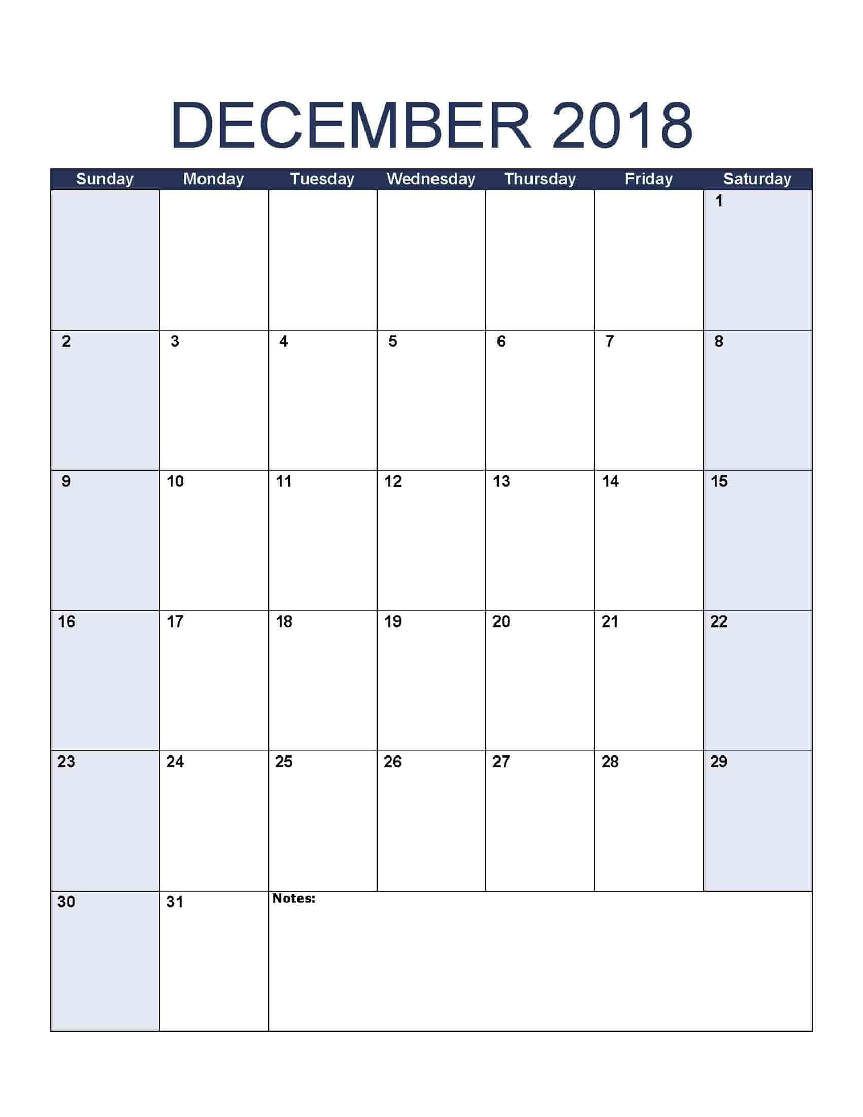 December 2018 Calendar - Free, Printable Calendar Templates