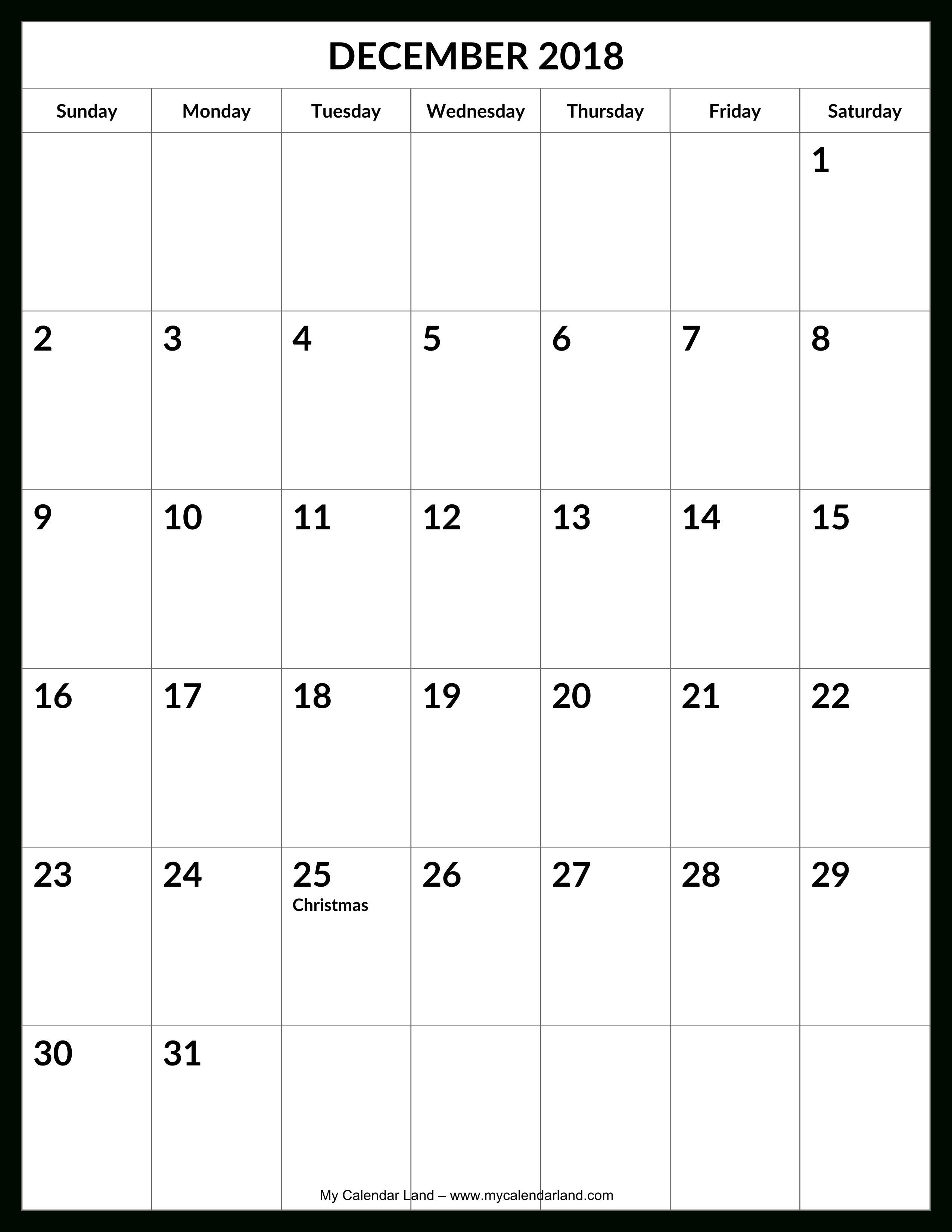 December 2018 Calendar - My Calendar Land