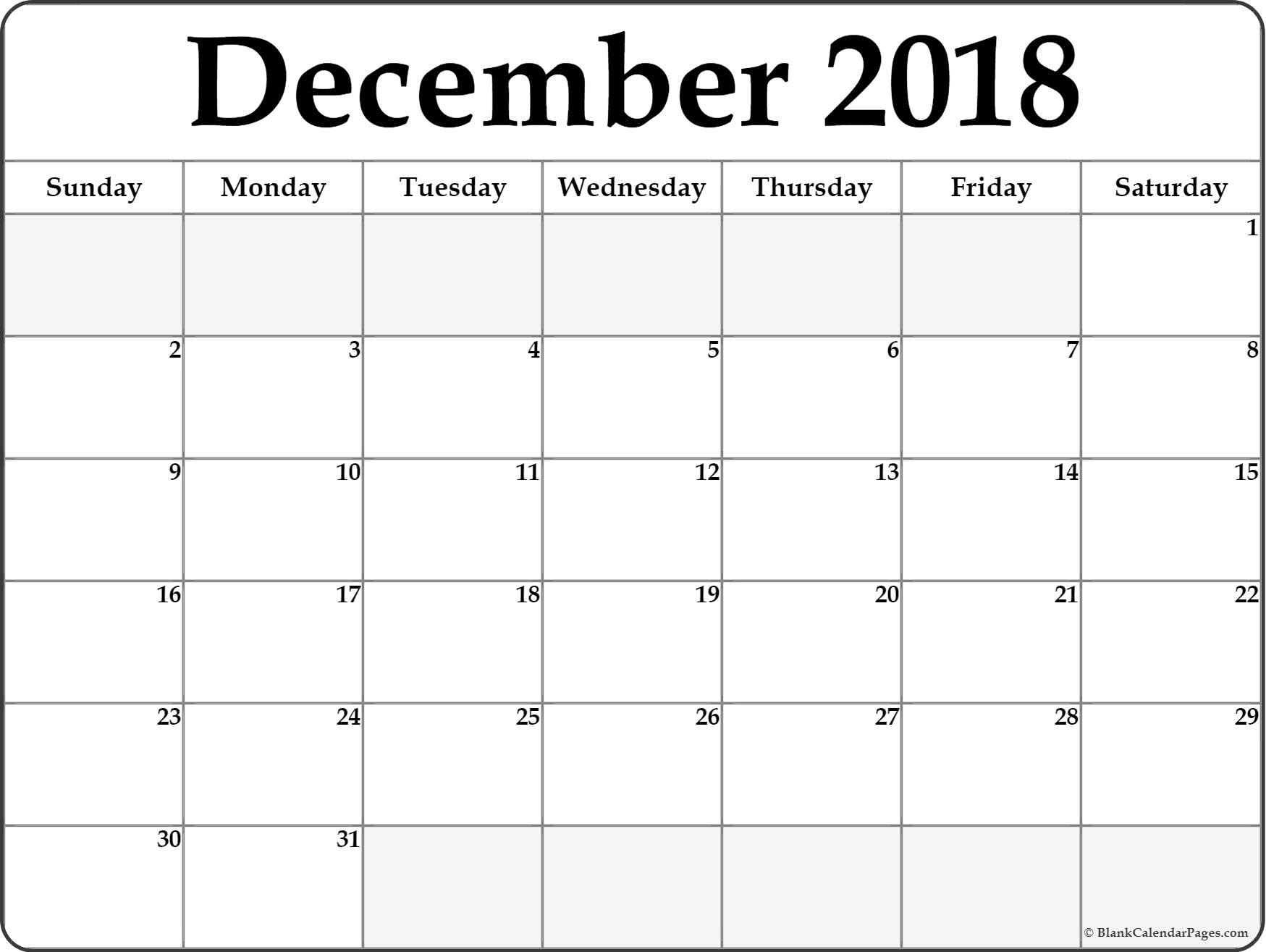 December 2018 Calendar Printable- Free Templates - Printable