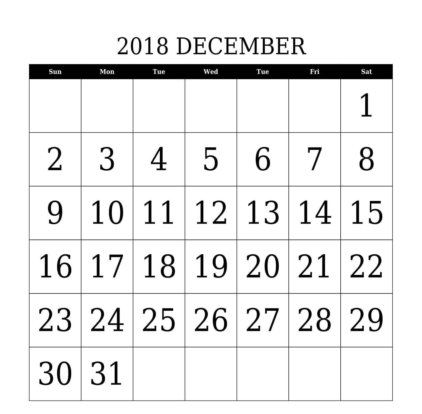 December 2018 Calendar Printable Large Date Font Size