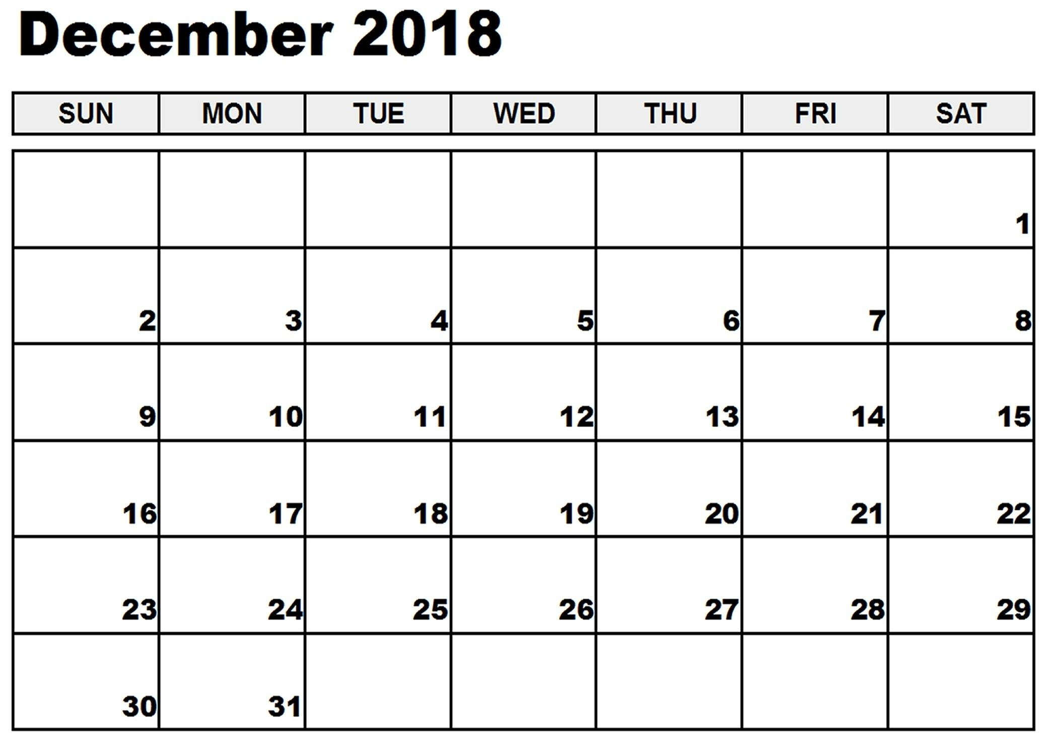December 2018 Printable Calendar Notes To Do List Reminders