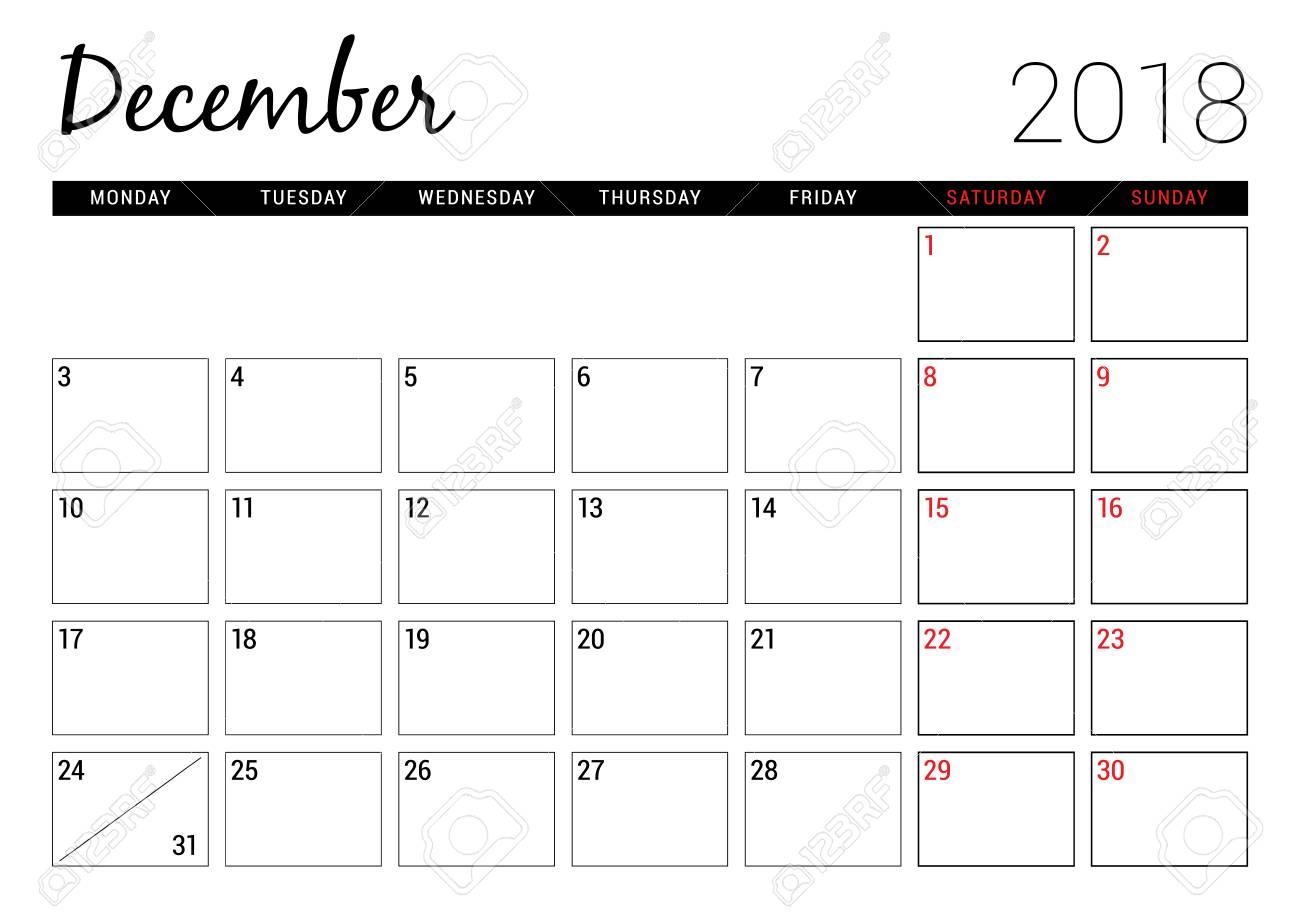 December 2018. Printable Calendar Planner Design Template. Week..
