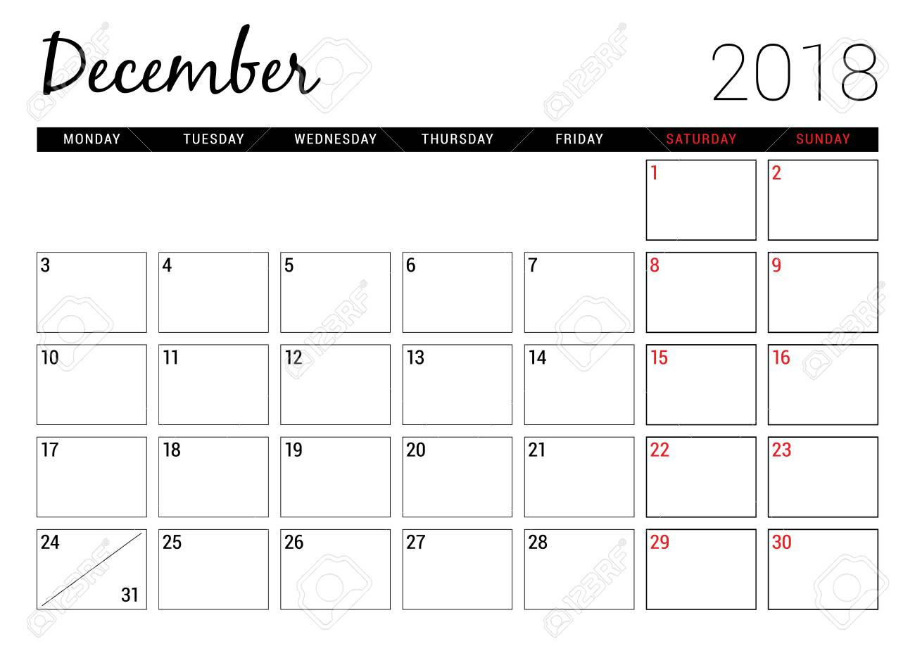 December 2018. Printable Calendar Planner Design Template. Week..
