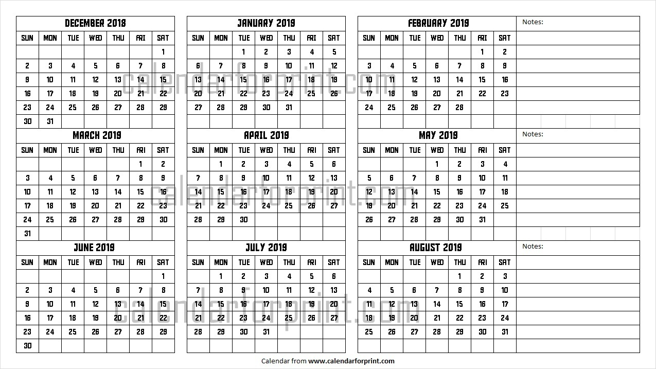 December 2018 To August 2019 Calendar | Design Dec To Aug 2019
