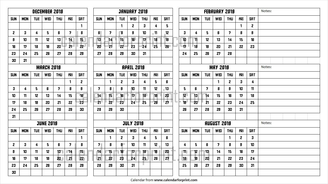 December 2018 To August 2019 Calendar   Design Dec To Aug 2019