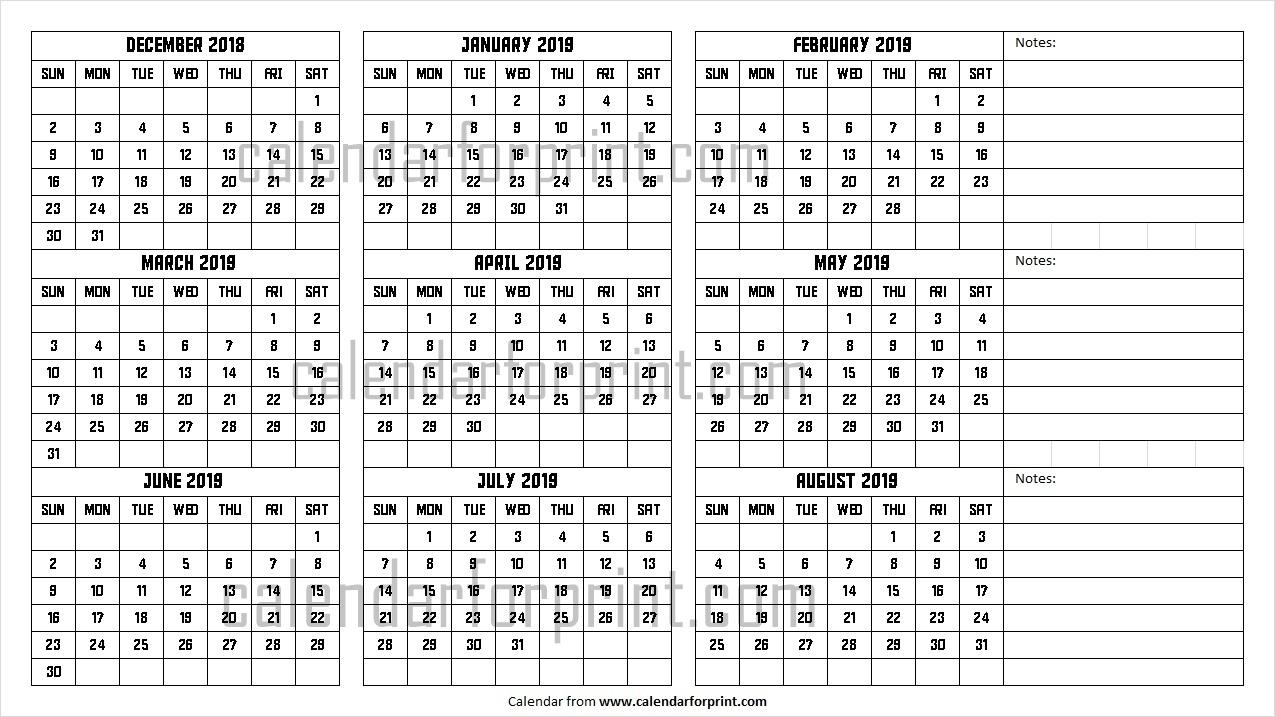 December 2018 To August 2019 Calendar | Design Dec To Aug