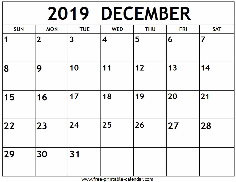 December 2019 Calendar - Free-Printable-Calendar