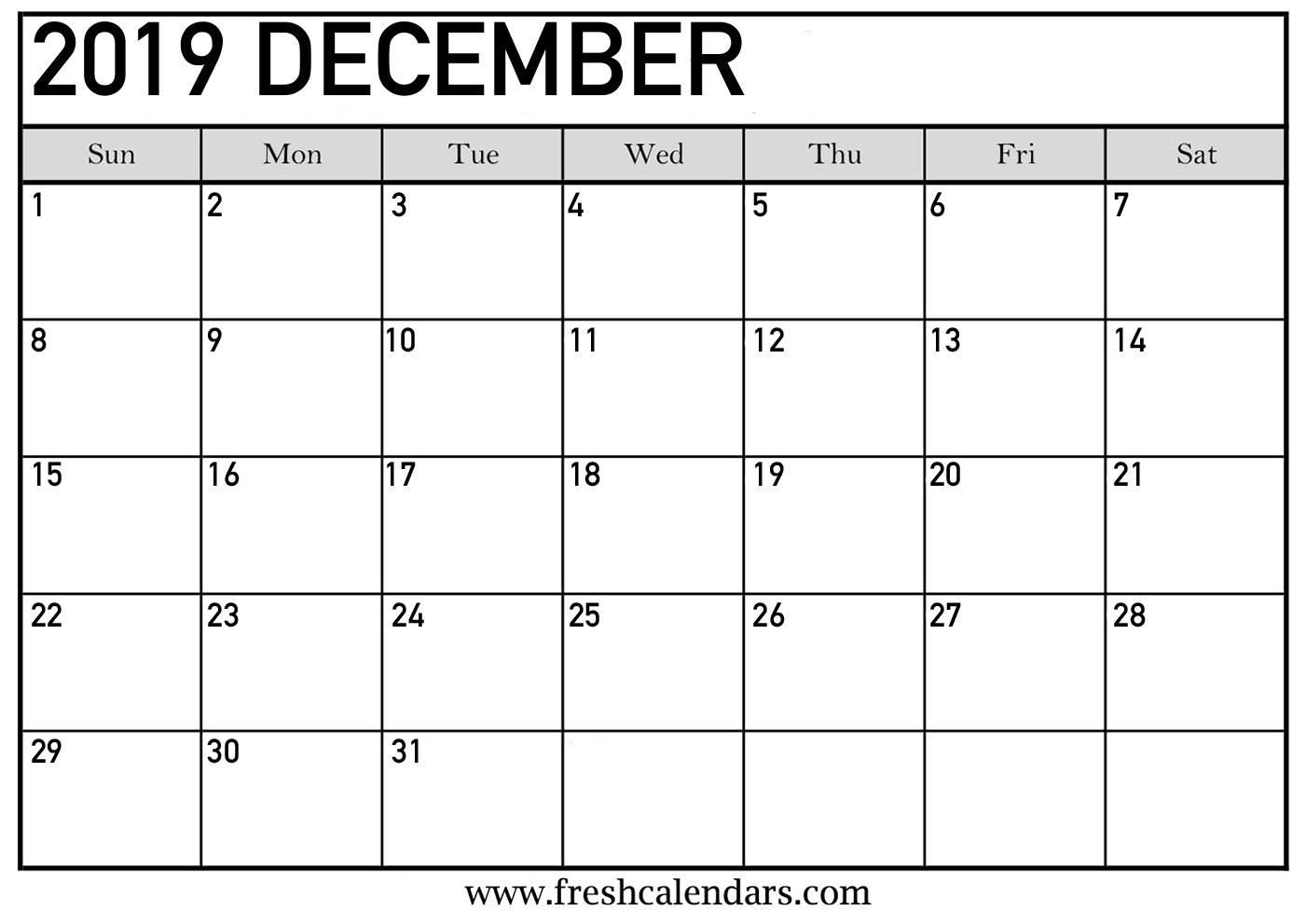 December 2019 Calendar Printable - Fresh Calendars