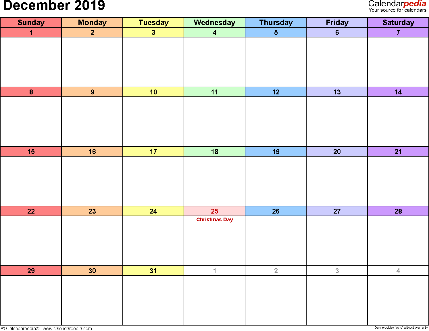 December 2019 Calendars For Word, Excel & Pdf