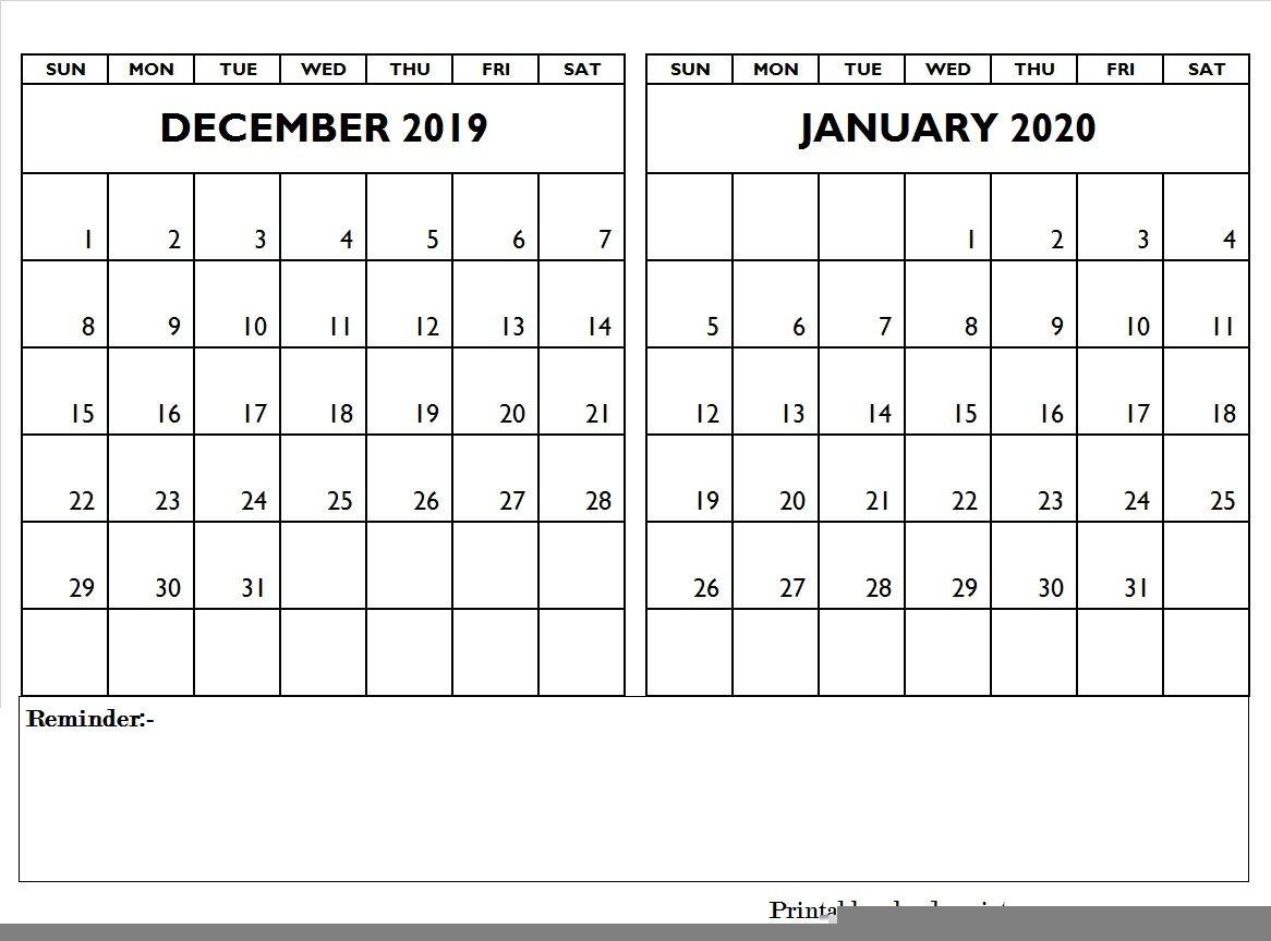 December 2019 January 2020 Calendar Editable | December 2019