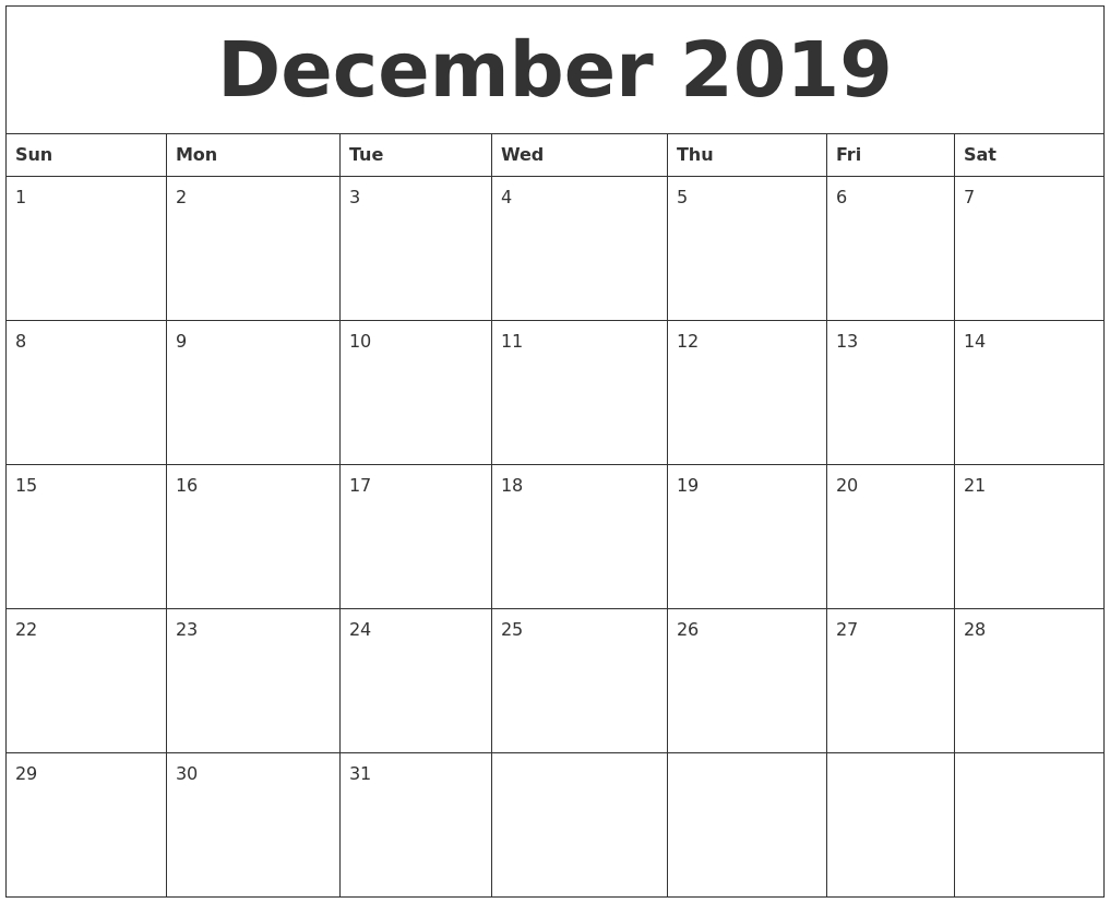 December 2019 Monthly Printable Calendar