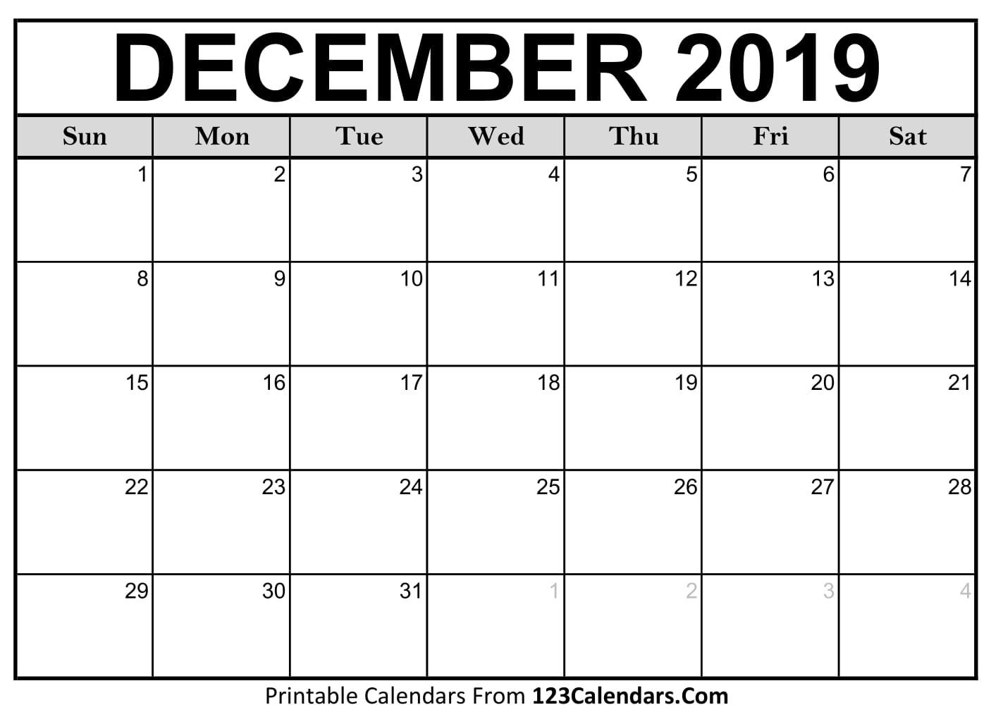 December 2019 Printable Calendar | 123Calendars