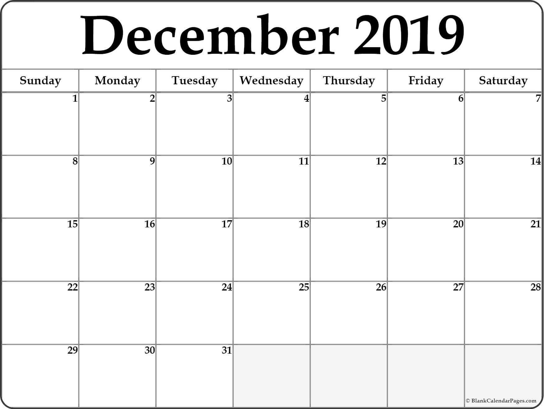 December 2019 Printable Calendar | Isacl