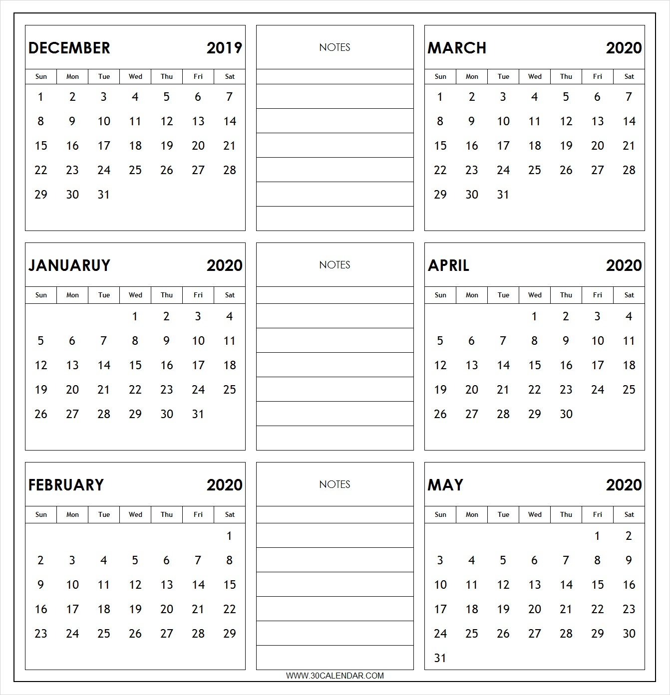 December 2019 To May 2020 Calendar Printable | 6 Month 2019