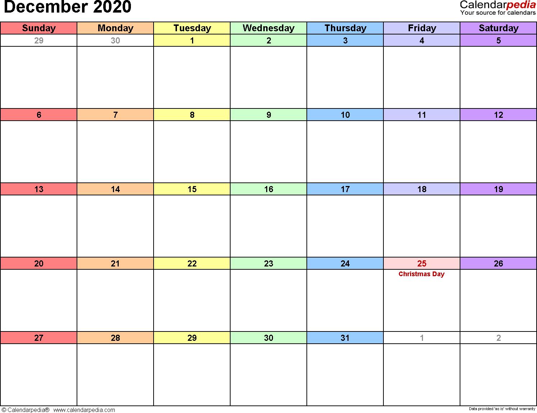 December 2020 Calendars For Word, Excel & Pdf