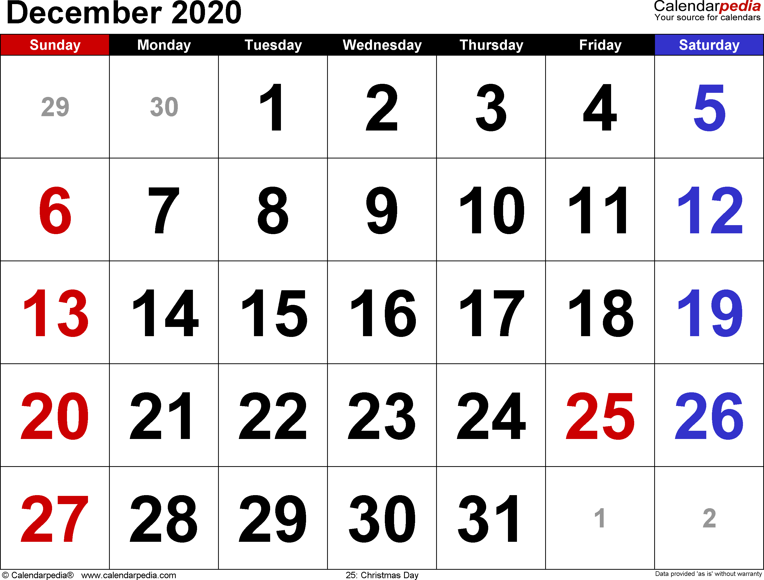 December 2020 Calendars For Word, Excel & Pdf