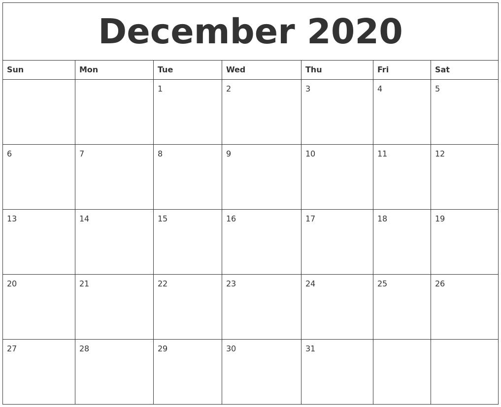 December 2020 Free Printable Calendar Templates