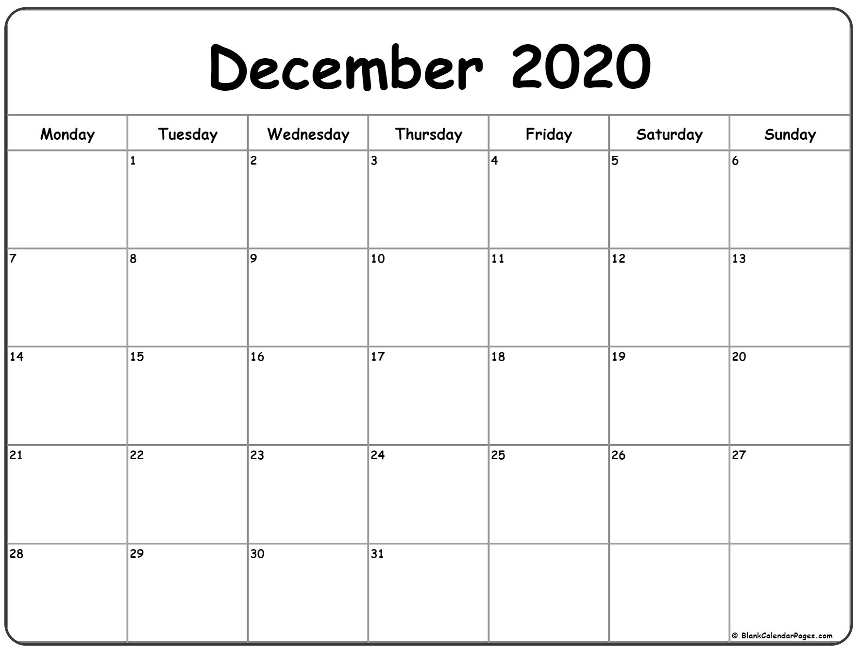 December 2020 Monday Calendar | Monday To Sunday