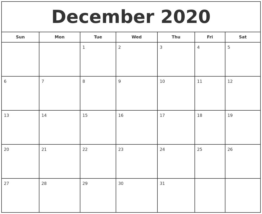 December 2020 Print Free Calendar