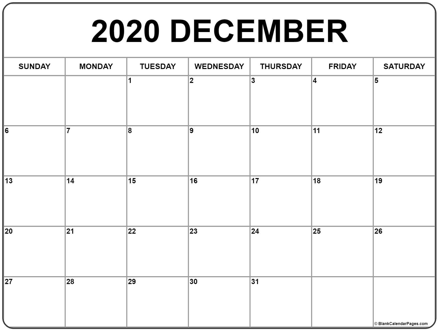 December 2020 Printable Calendar Template #2020Calendars