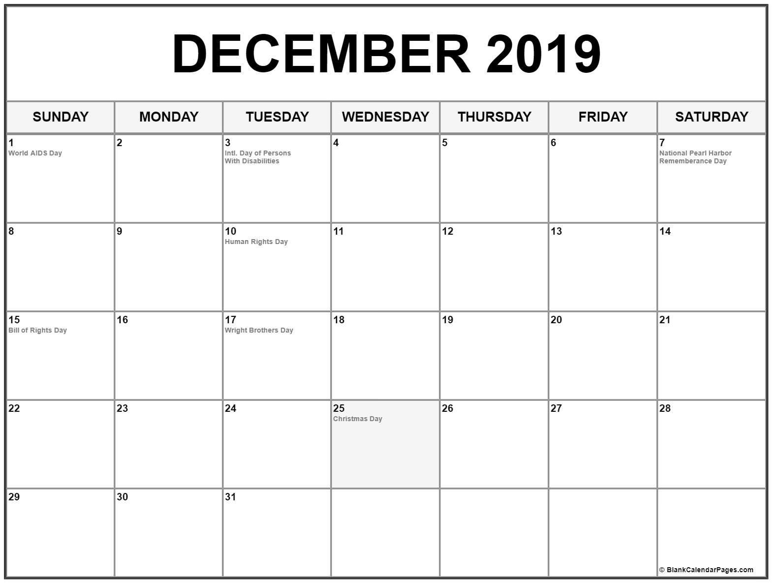 December Calendar 2019 #december #december2019