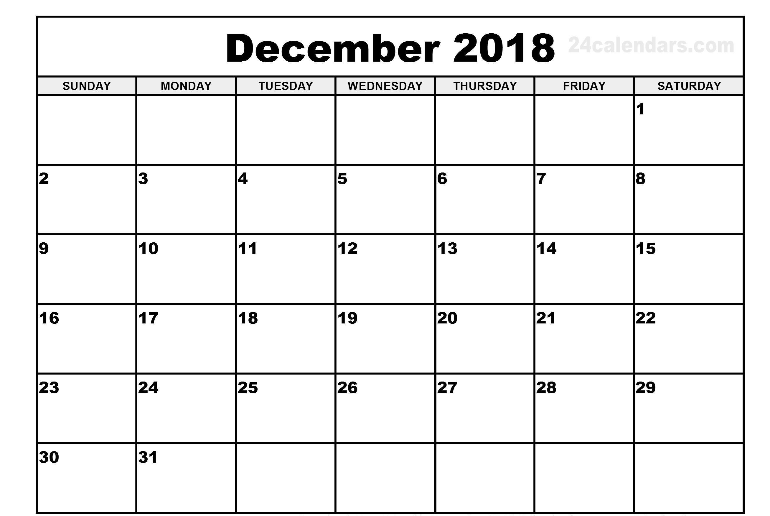 December Weekend Calendar 2018 Printable | Calendar Format