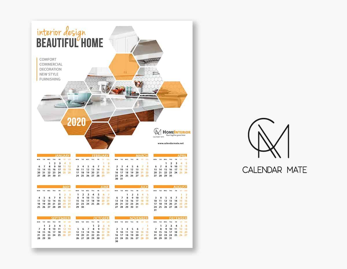 Desain: Stylish Creative Design One Page Wall Calendar