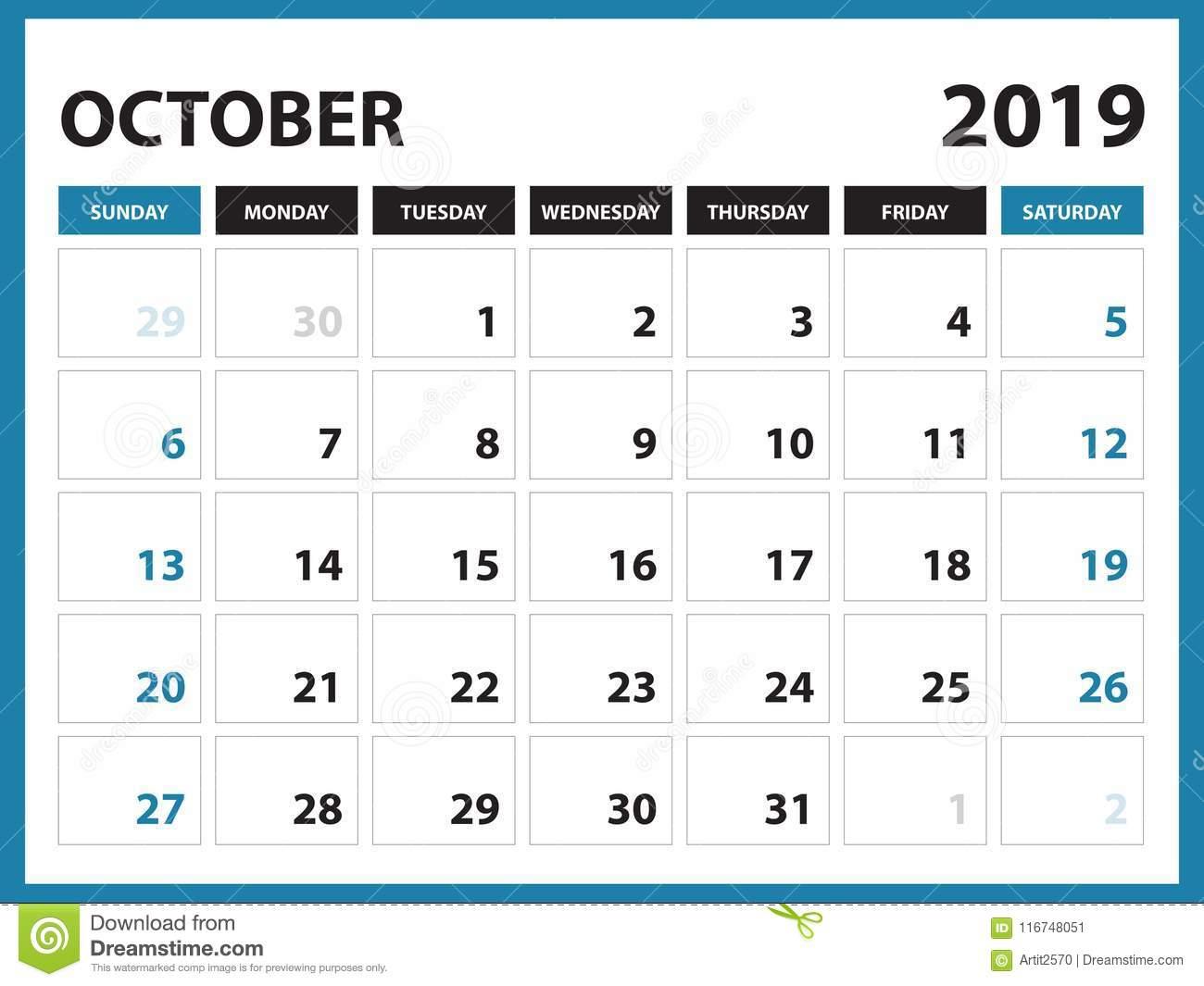 Desk Calendar For September 2019 Template, Printable