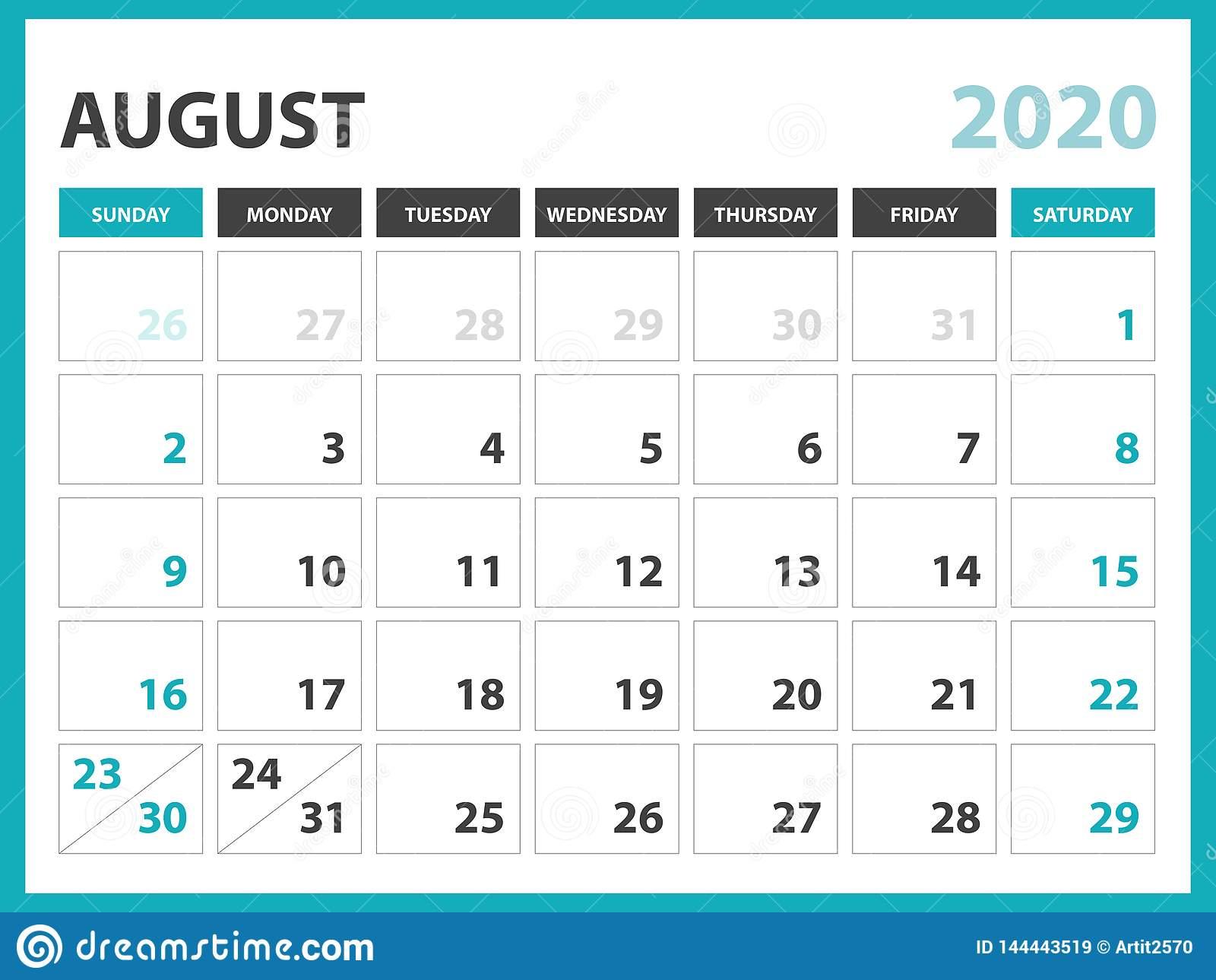 Desk Calendar Layout Size 8 X 6 Inch, February 2020 Calendar