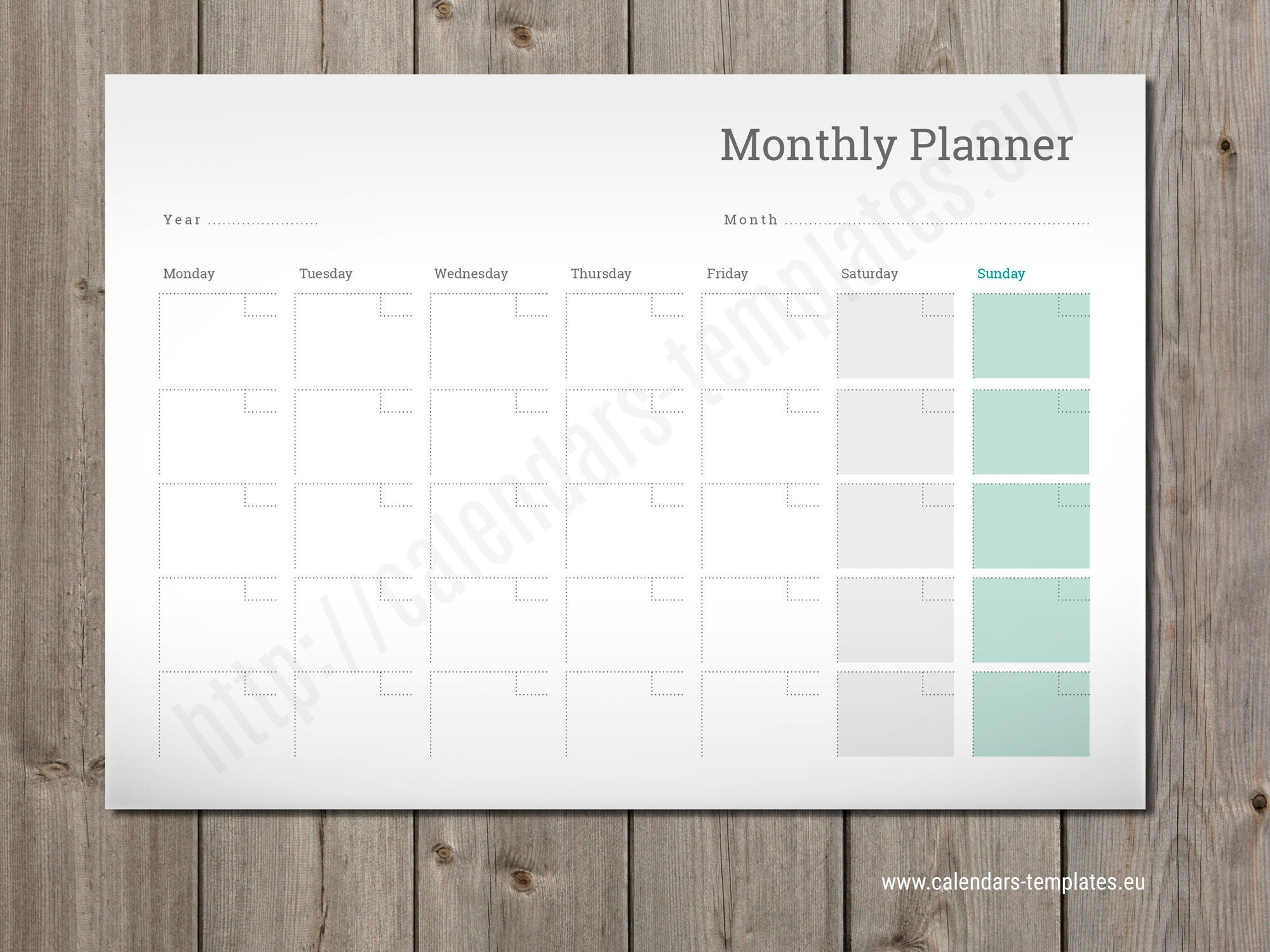 Desk Or Wall Blank Printable Monthly Calendar (Pm-W9) A2, A3 Size, Pdf  Format