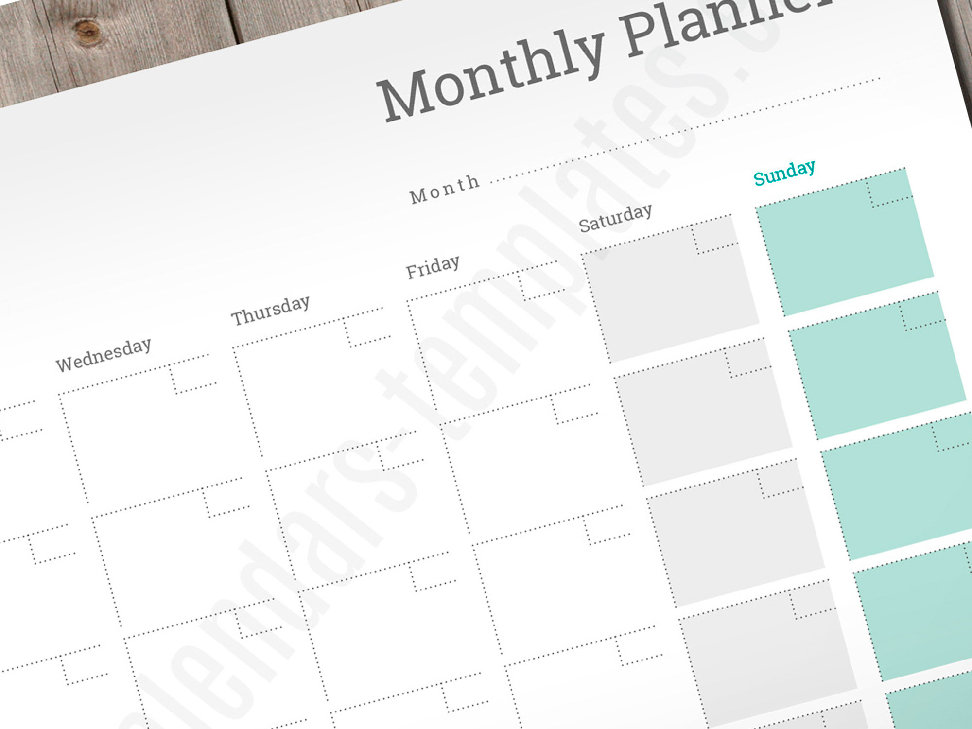 Desk Or Wall Blank Printable Monthly Calendar (Pm-W9). Weekly Planner Pad  A2, A3 Size, Pdf Format