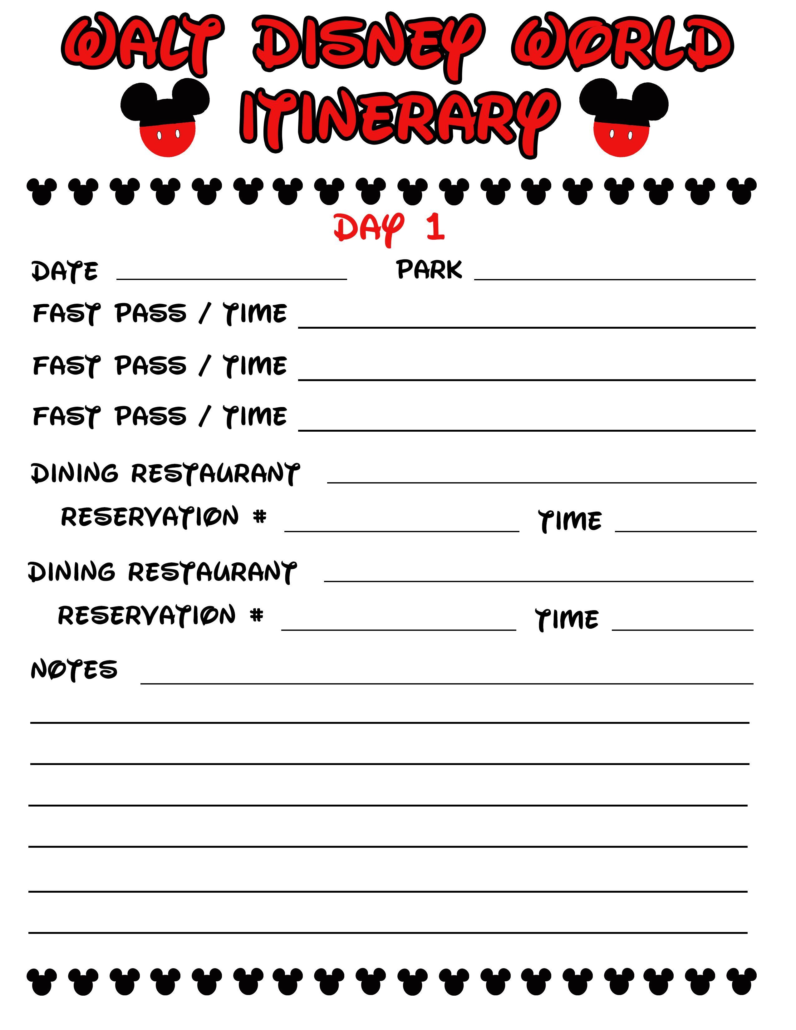 Disney Agenda & Itinerary Free Printable | Disney | Disney