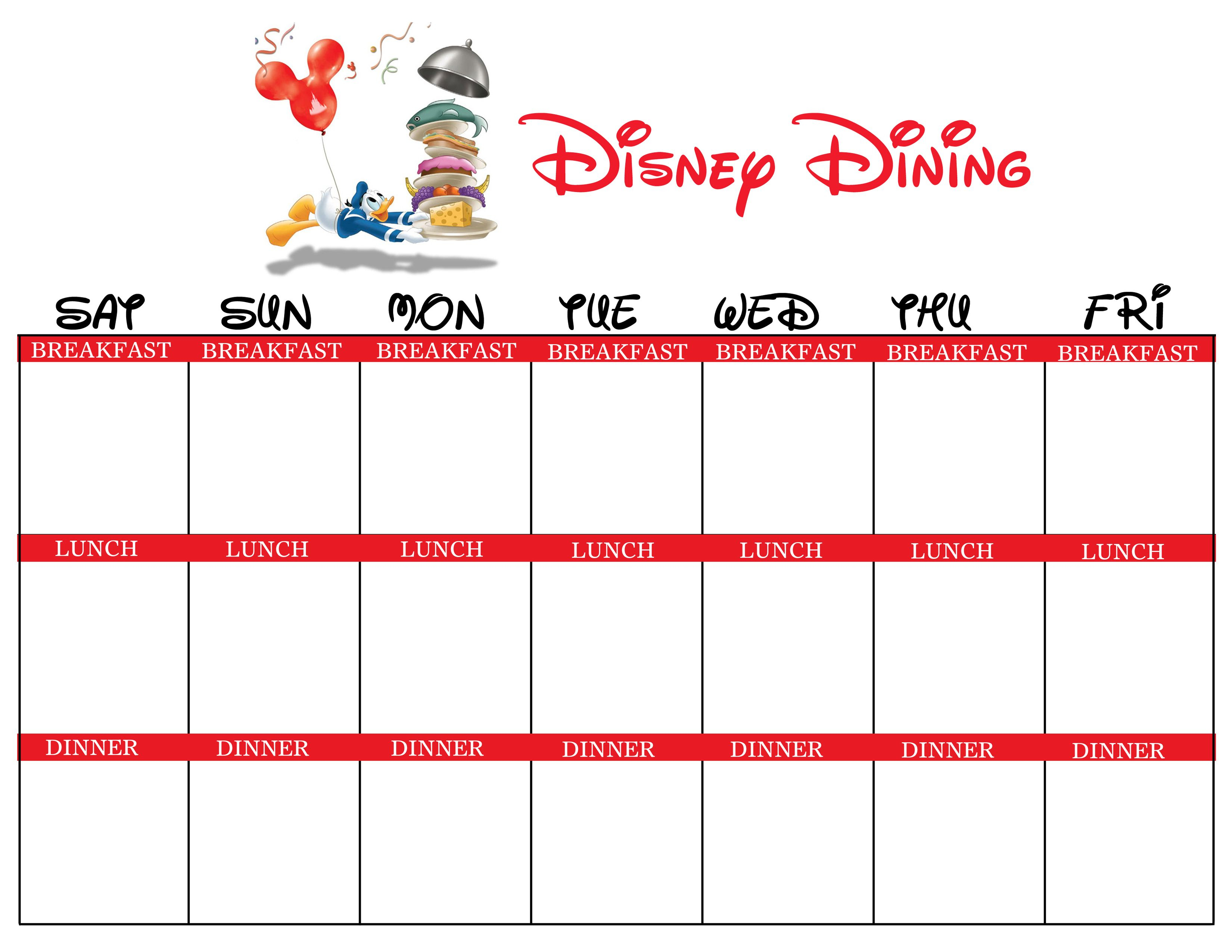 Disney Dining Planner - A Blank Version Of The Chart I Made