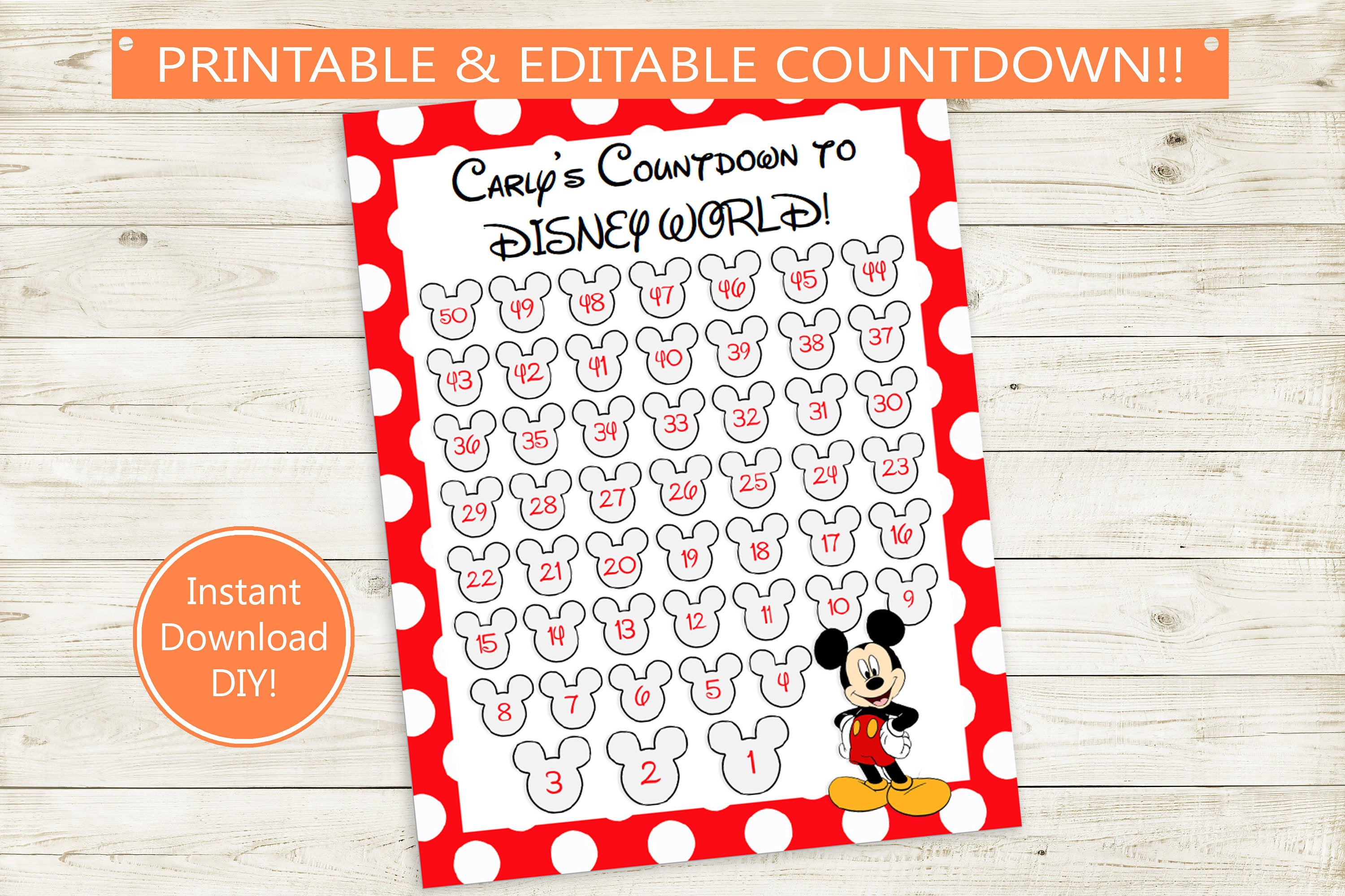 Disney Vacation Countdown Printable // Editable Pdf // Instant Download,  Diy, Mickey Mouse, Mickey Ears, Vacation, 50 Days, Disneyland World
