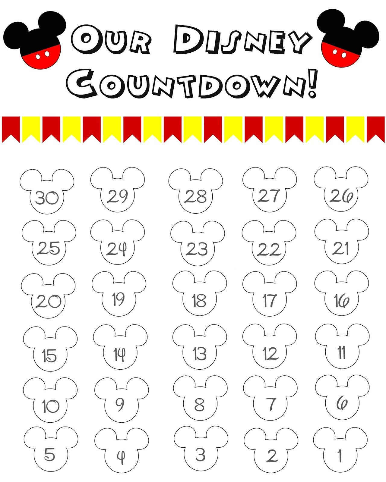 Disney World Countdown Calendar - Free Printable   The Momma