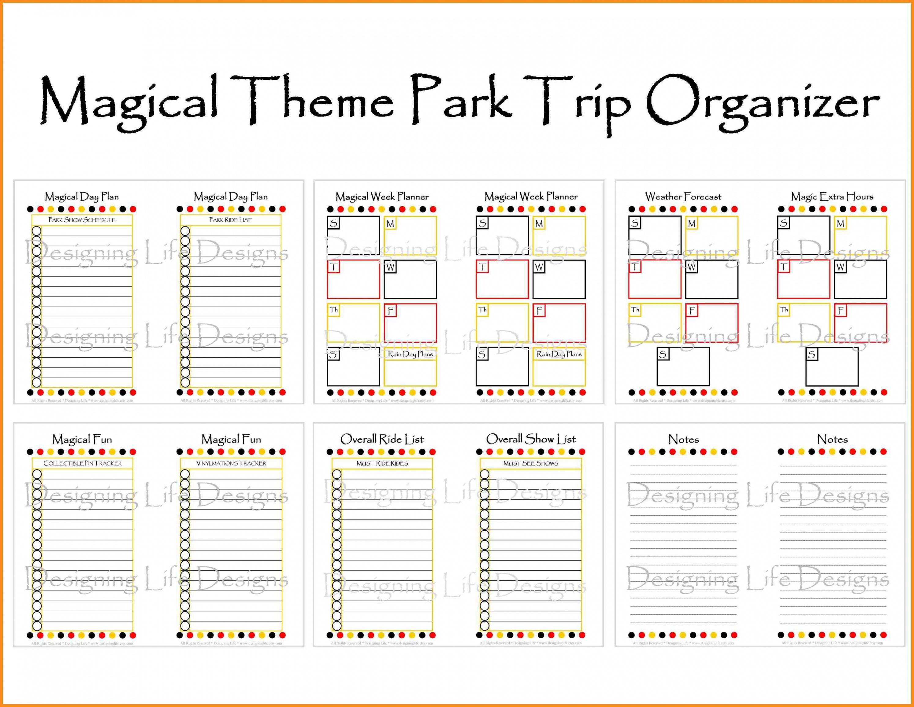 Disney World Itinerary Template