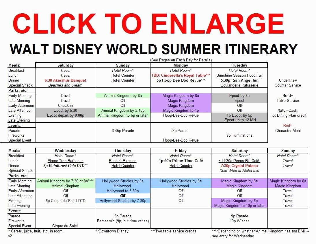Disney World Itinerary Template 15 Disney World Itinerary