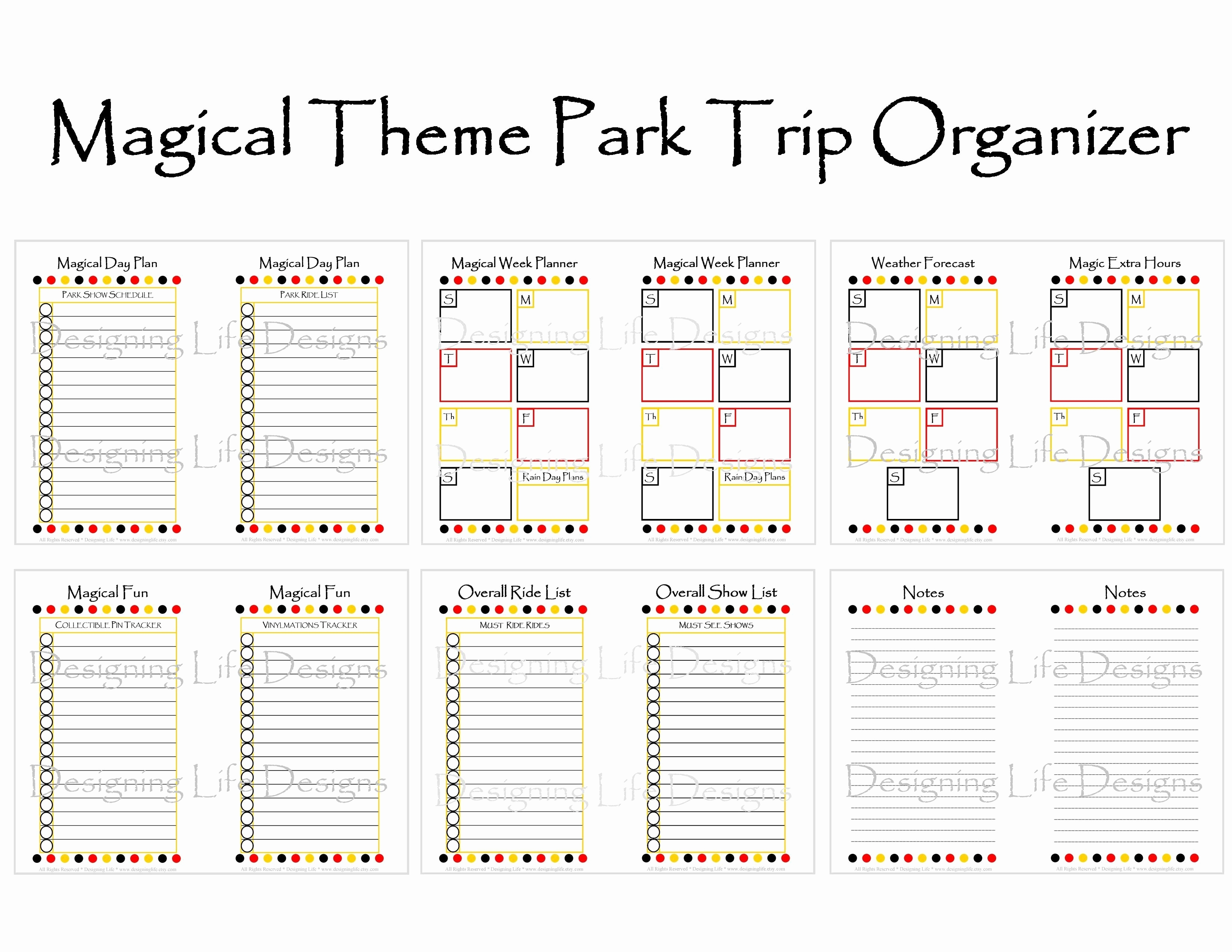 Disney World Itinerary Template Blank | Template Calendar