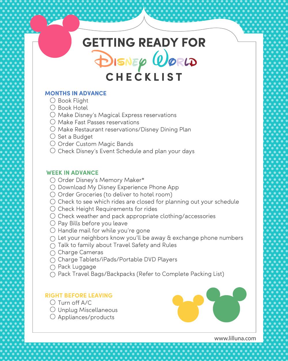 Disney World Vacation Planning + Free Printable Checklist