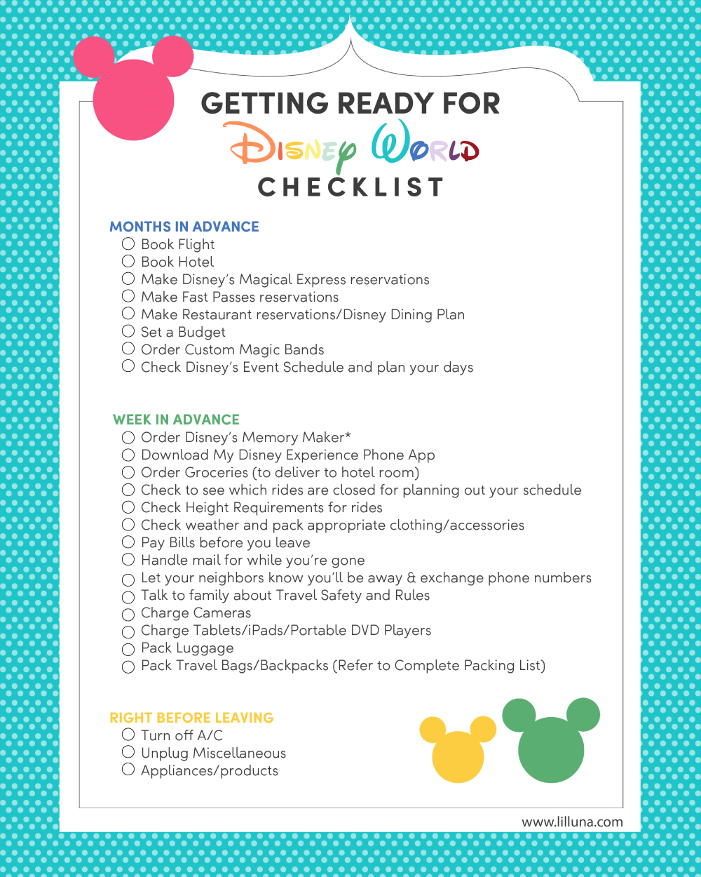 Disney World Vacation Planning + Free Printable Checklist