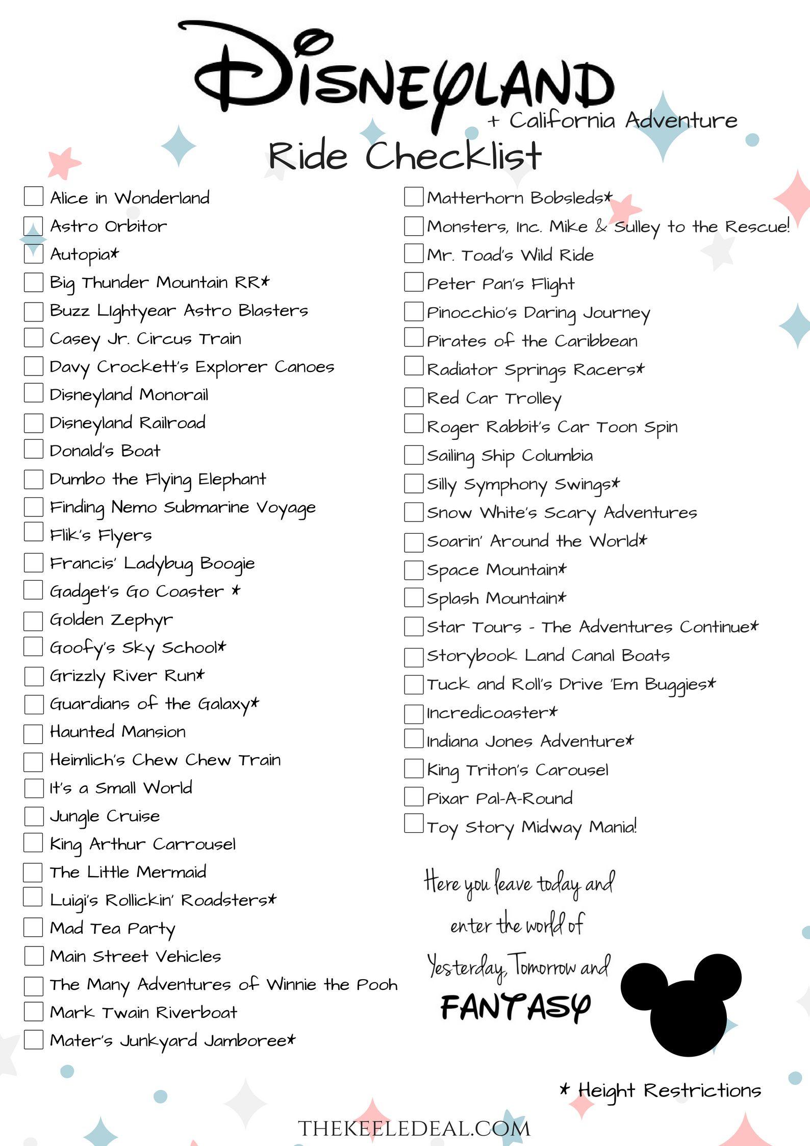 Disneyland Ride Checklist {Free Printable} | Before I Die