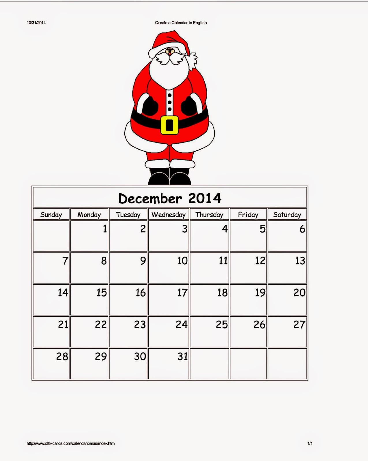 Dltk's Custom Printable Holiday Calendars ~ Parenting Times