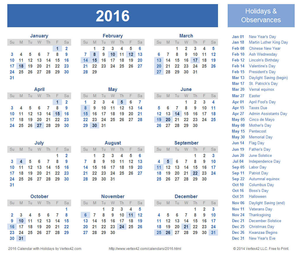 Download A Free Printable 2016 Holiday Calendar From