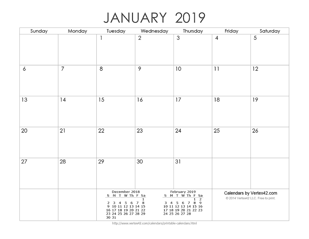 Download A Free Printable Ink Saver 2019 Calendar From
