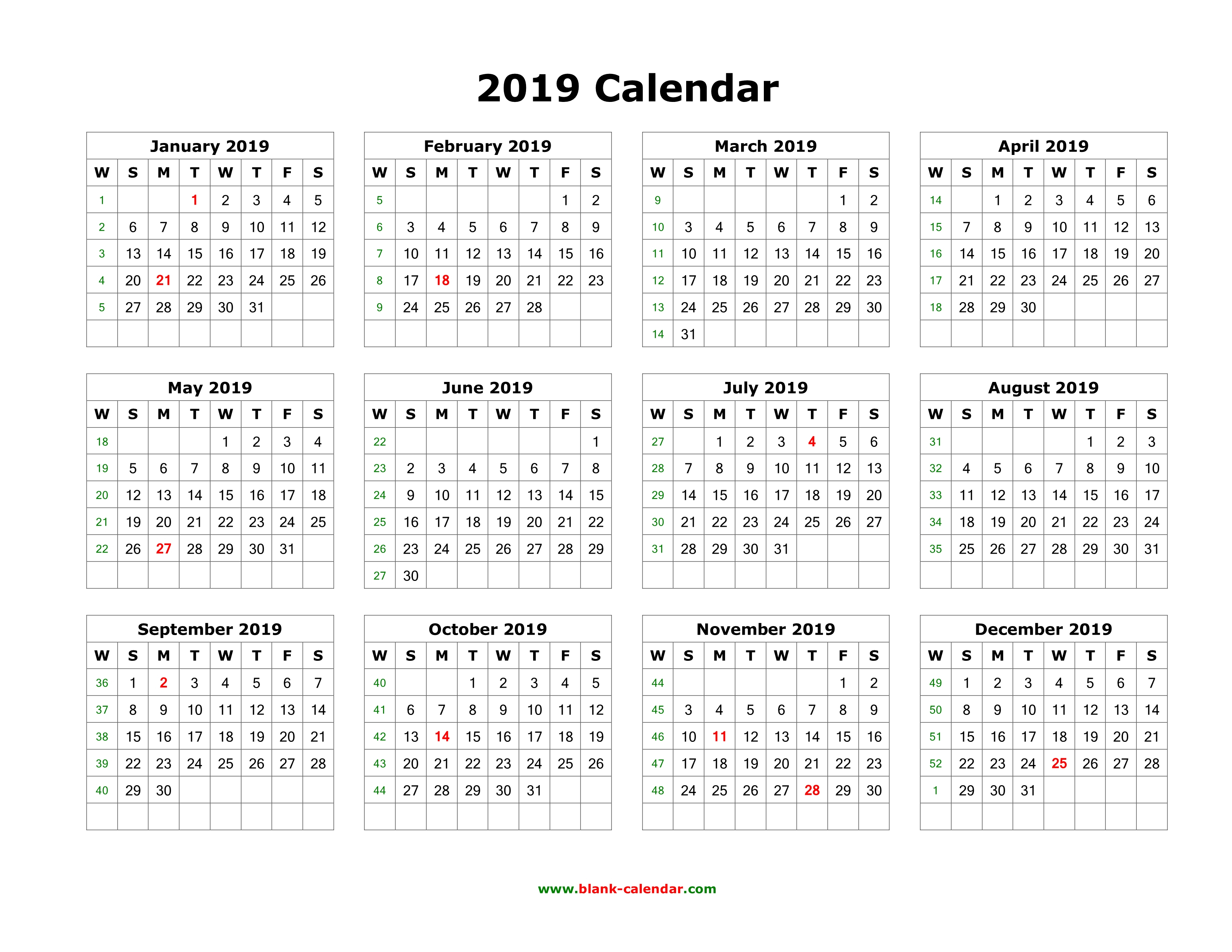 Download Blank Calendar 2019 (12 Months On One Page, Horizontal)