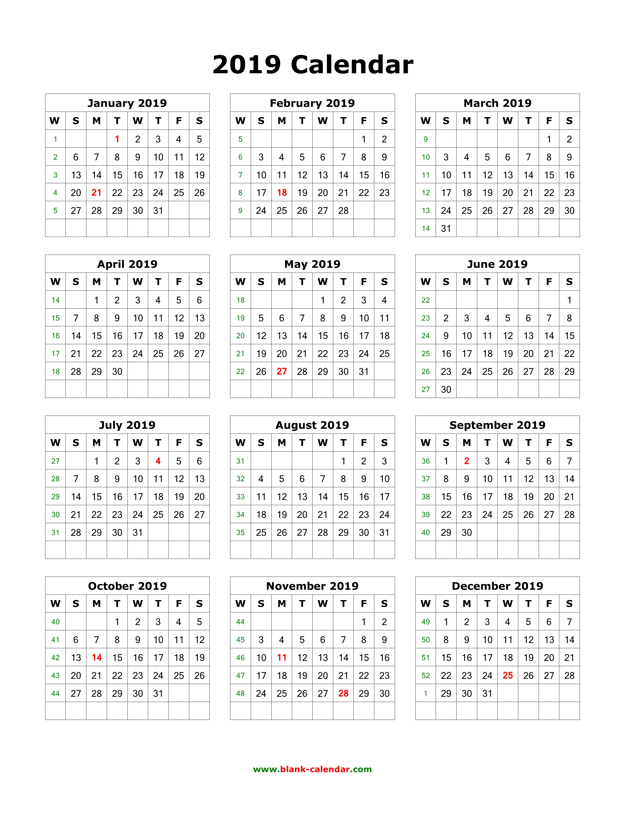 Download Blank Calendar 2019 (12 Months On One Page, Vertical)