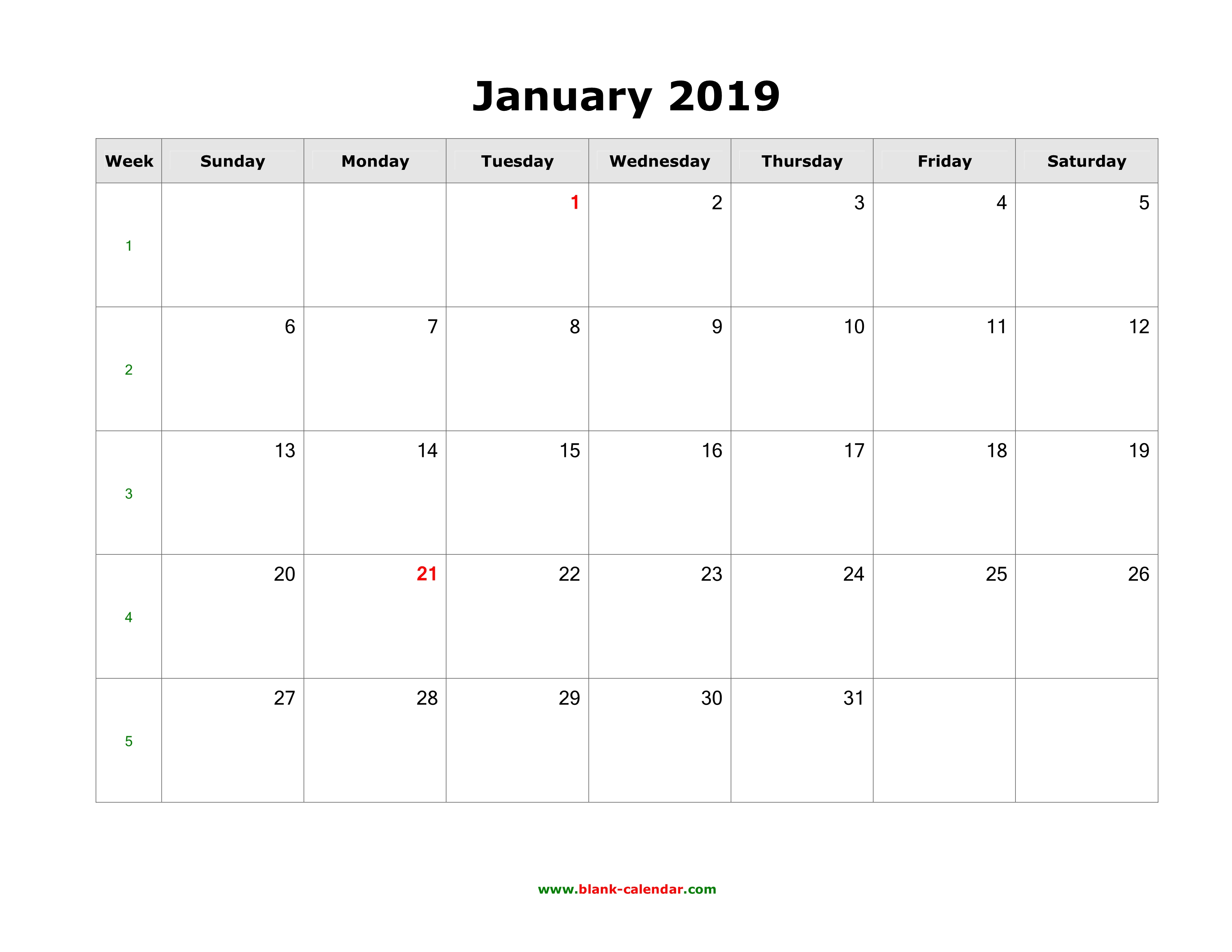 Download Blank Calendar 2019 (12 Pages, One Month Per Page