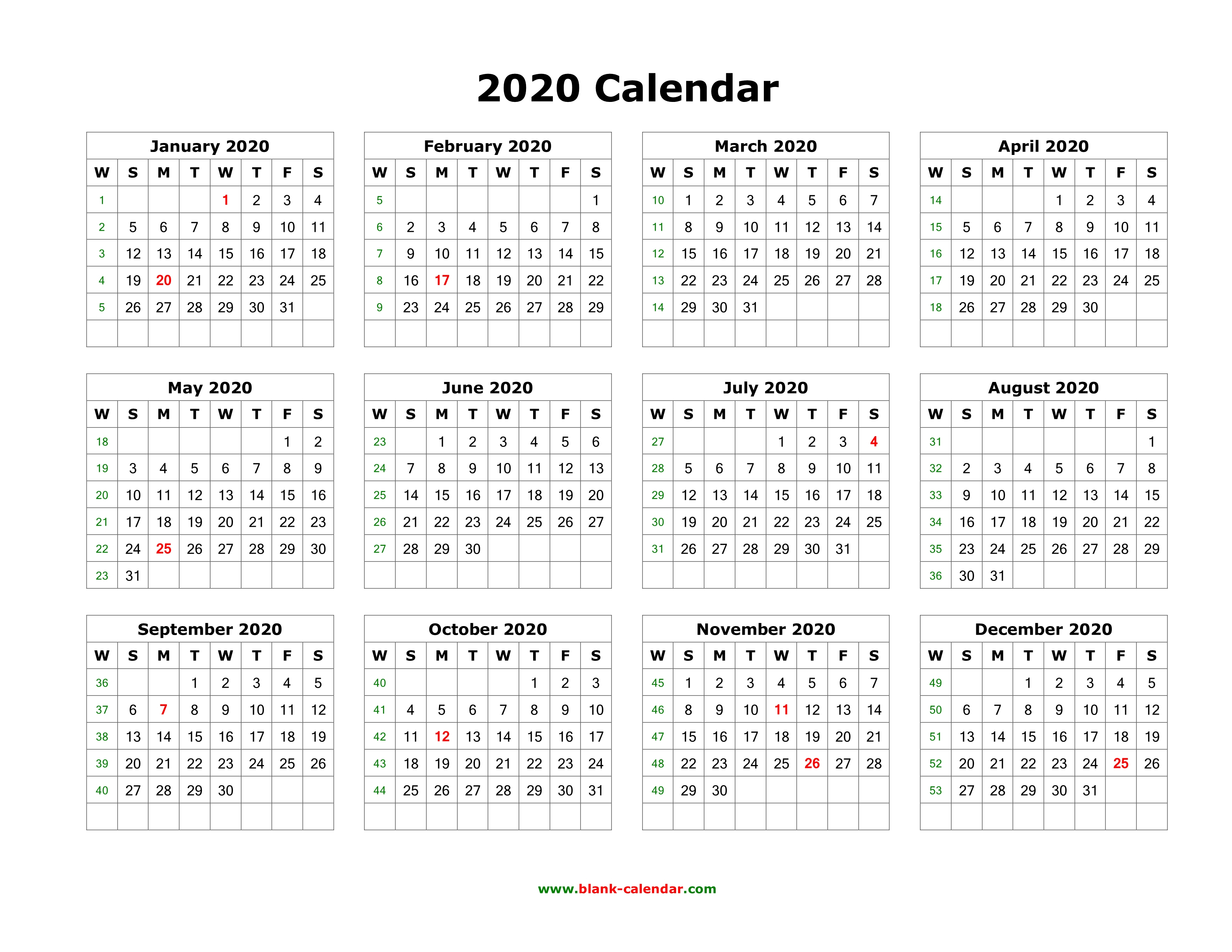 Download Blank Calendar 2020 (12 Months On One Page, Horizontal)