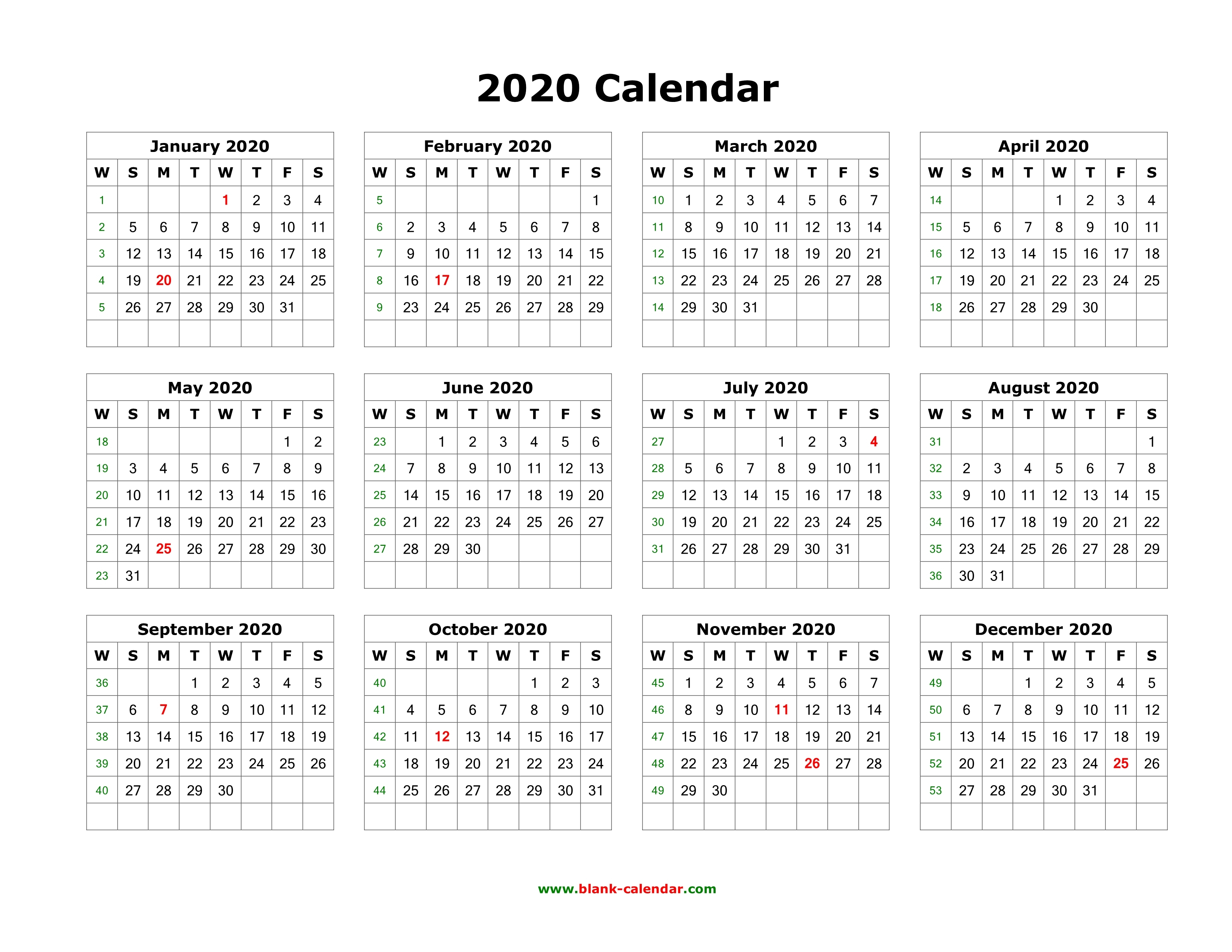 Download Blank Calendar 2020 12 Months On One Page