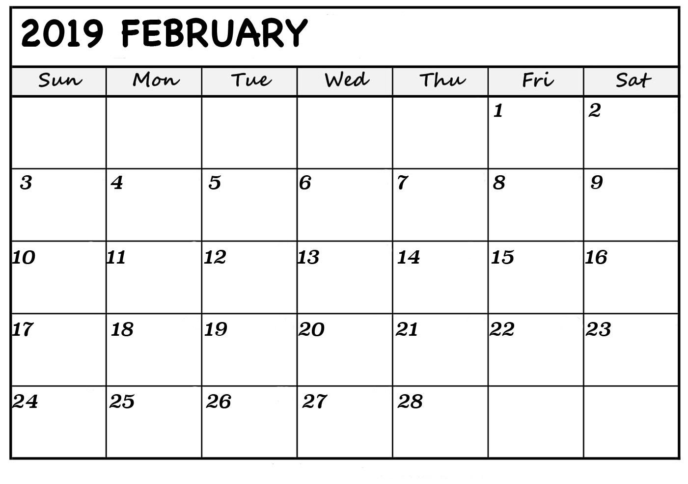 Download February 2019 Printable Calendar Pdf Excel Word